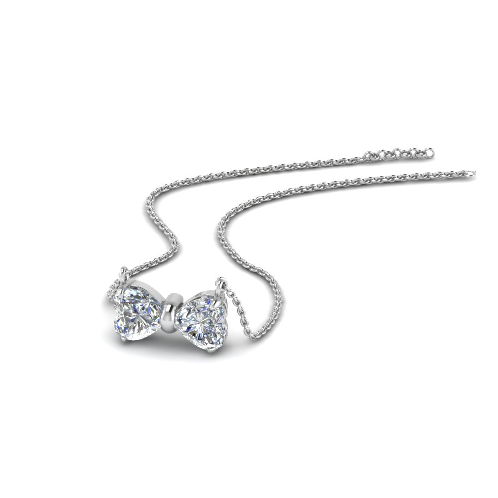 2 heart bow diamond necklace in 18K white gold FDPD8328 NL WG