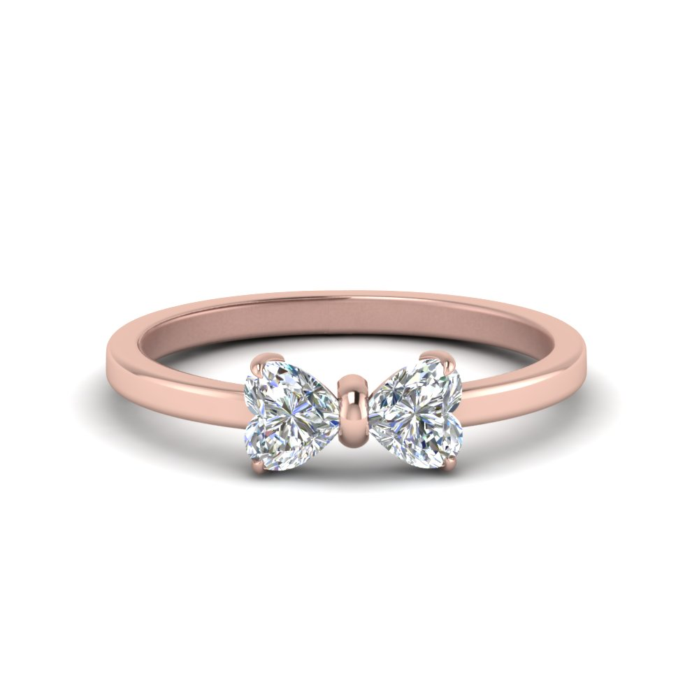 2 heart shaped bow diamond ring in 14K rose gold FD8238 NL RG