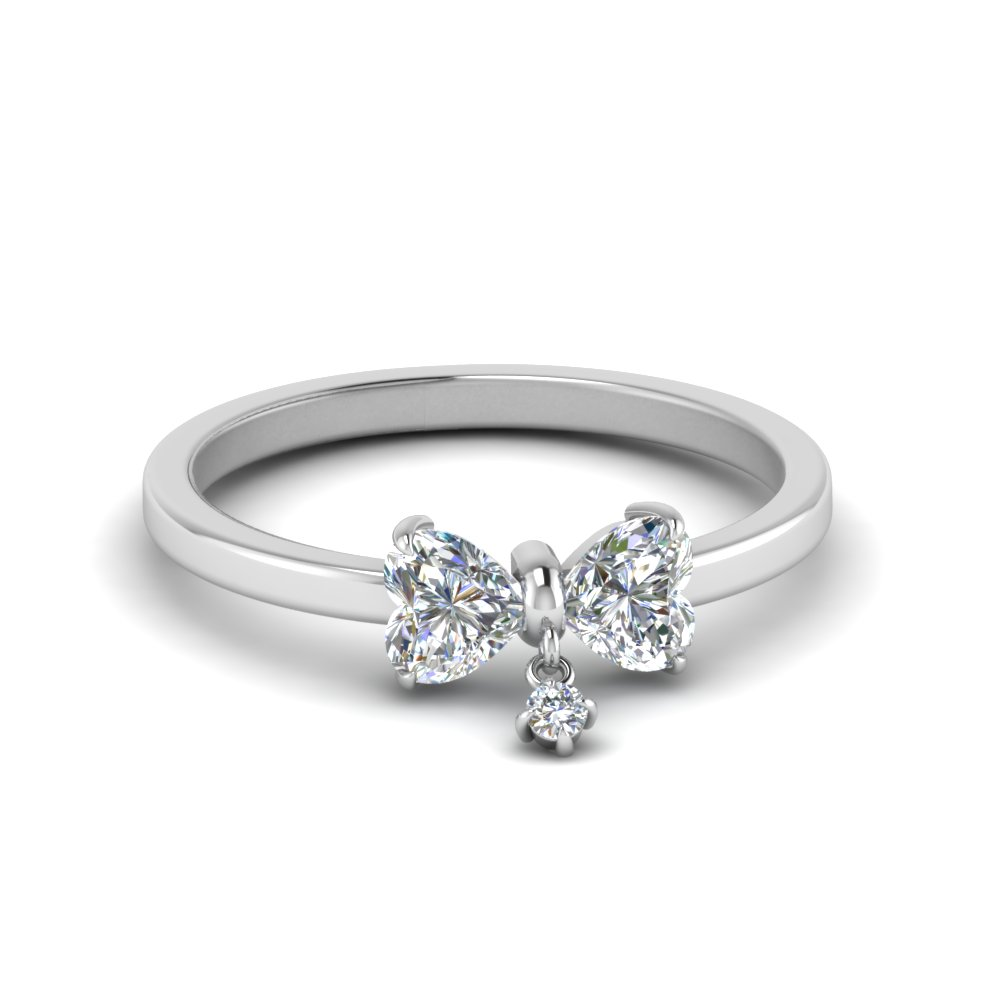 2 Heart Diamond Drop Ring
