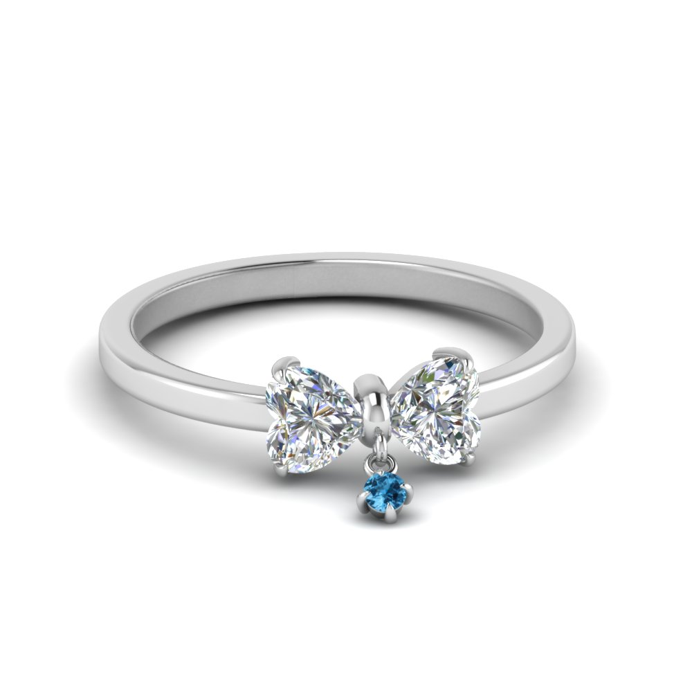 Bow Wedding Ring With Blue Topaz