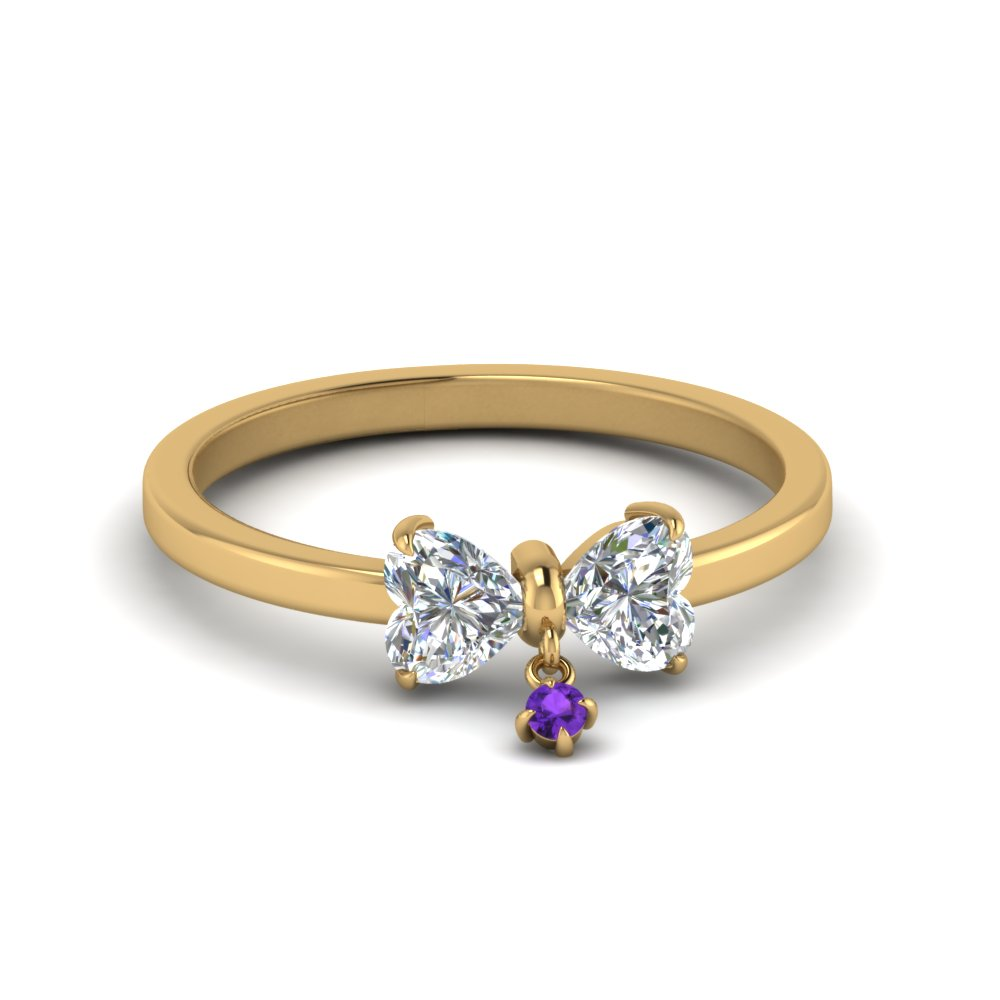 2 heart shaped diamond drop ring with violet topaz in 14K yellow gold FD8239HTRGVITO NL YG