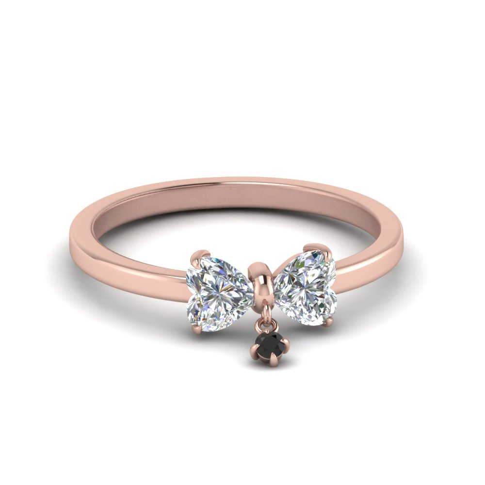 2 Heart Shaped Drop Ring With Black Diamond In 18K Rose Gold