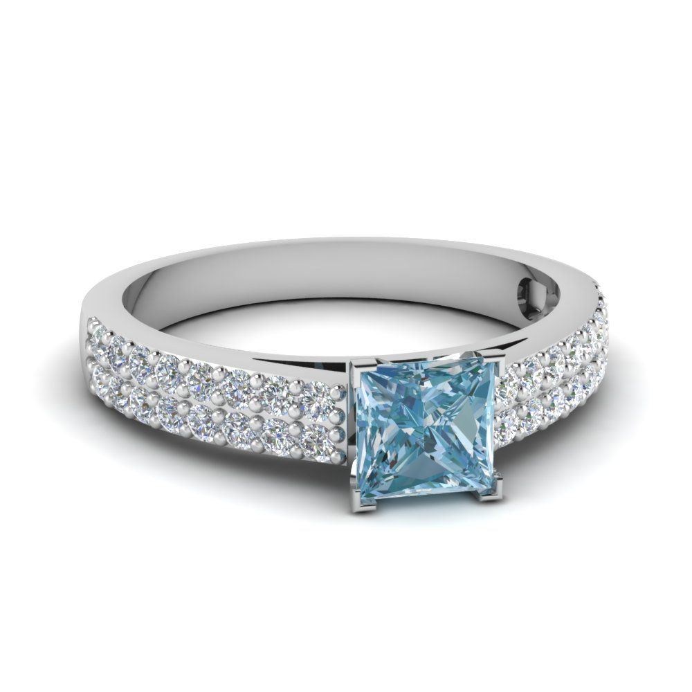 2 Row Colored Engagement Ring