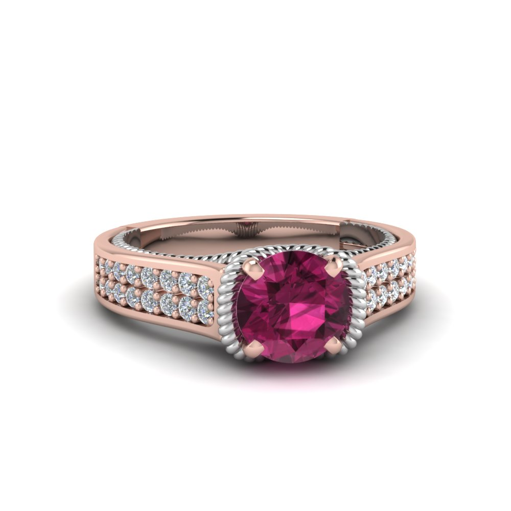2 row pink sapphire engagement ring in FDENR9508RORGPS NL RG