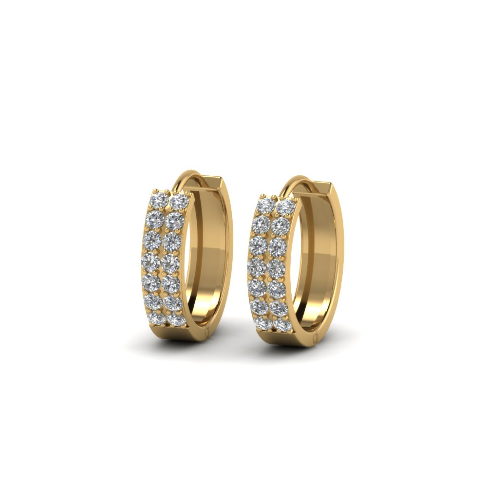 2 row diamond small hoop earring in 14K yellow gold FDEAR8188ANGLE1 NL YG