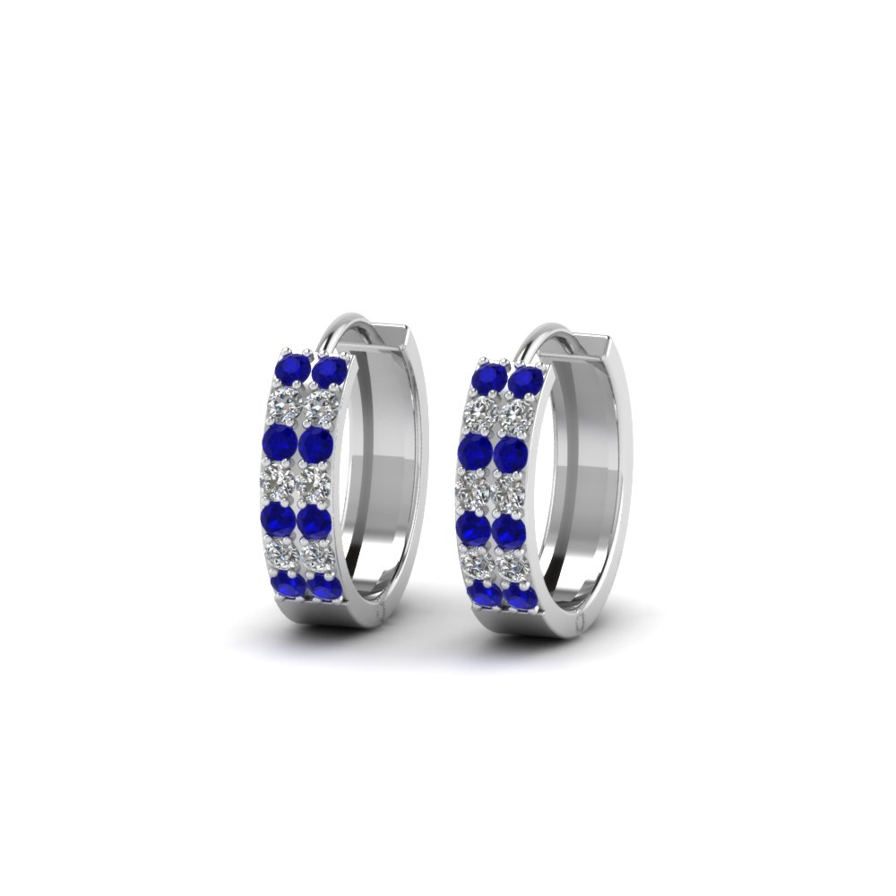 2 Row Diamond Small Hoop Earring