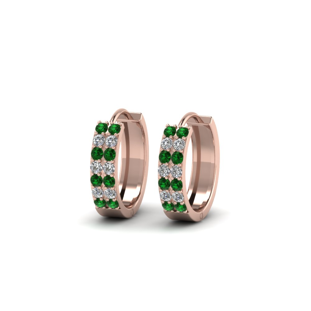 Diamond And Emerald Hoop Earring