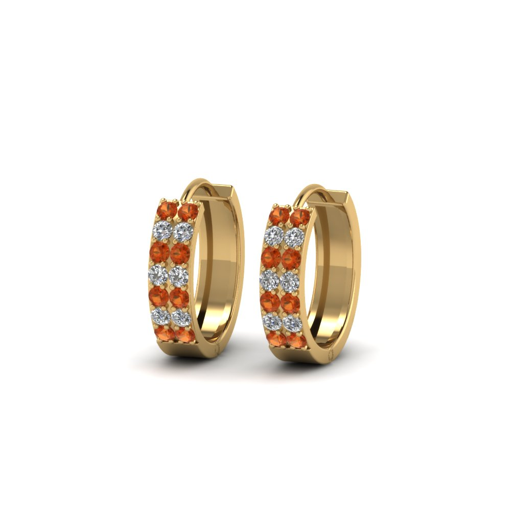 Orange Sapphire 2 Row Earrings