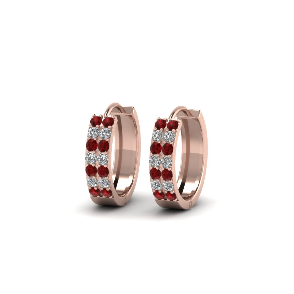 2 row diamond small hoop earring with ruby in 14K rose gold FDEAR8188GRUDRANGLE1 NL RG