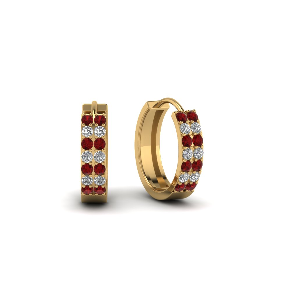 e2cdc4df2ca 2 row diamond small hoop earring with ruby in 14K yellow gold  FDEAR8188GRUDRANGLE1 NL YG. Add to Cart. SKU  FDEAR8188H