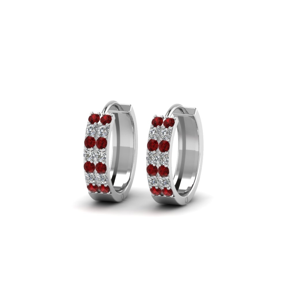 White Gold Ruby Hoop Earring