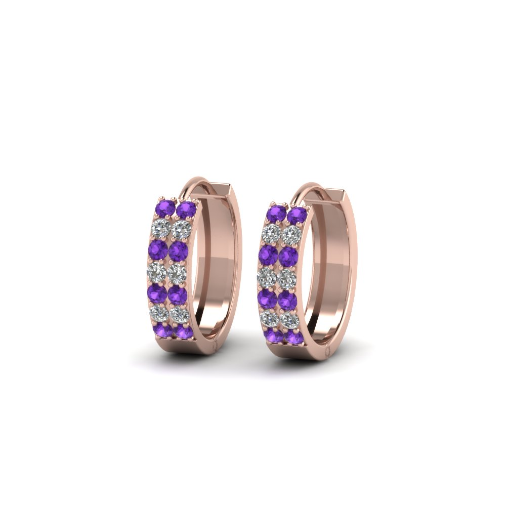 Delicate Purple Topaz Hoop Earrings