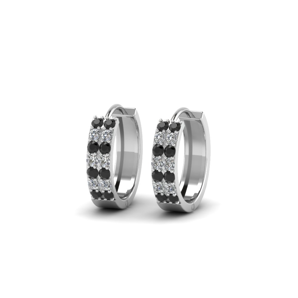 Black Diamond White Gold Hoop Earrings