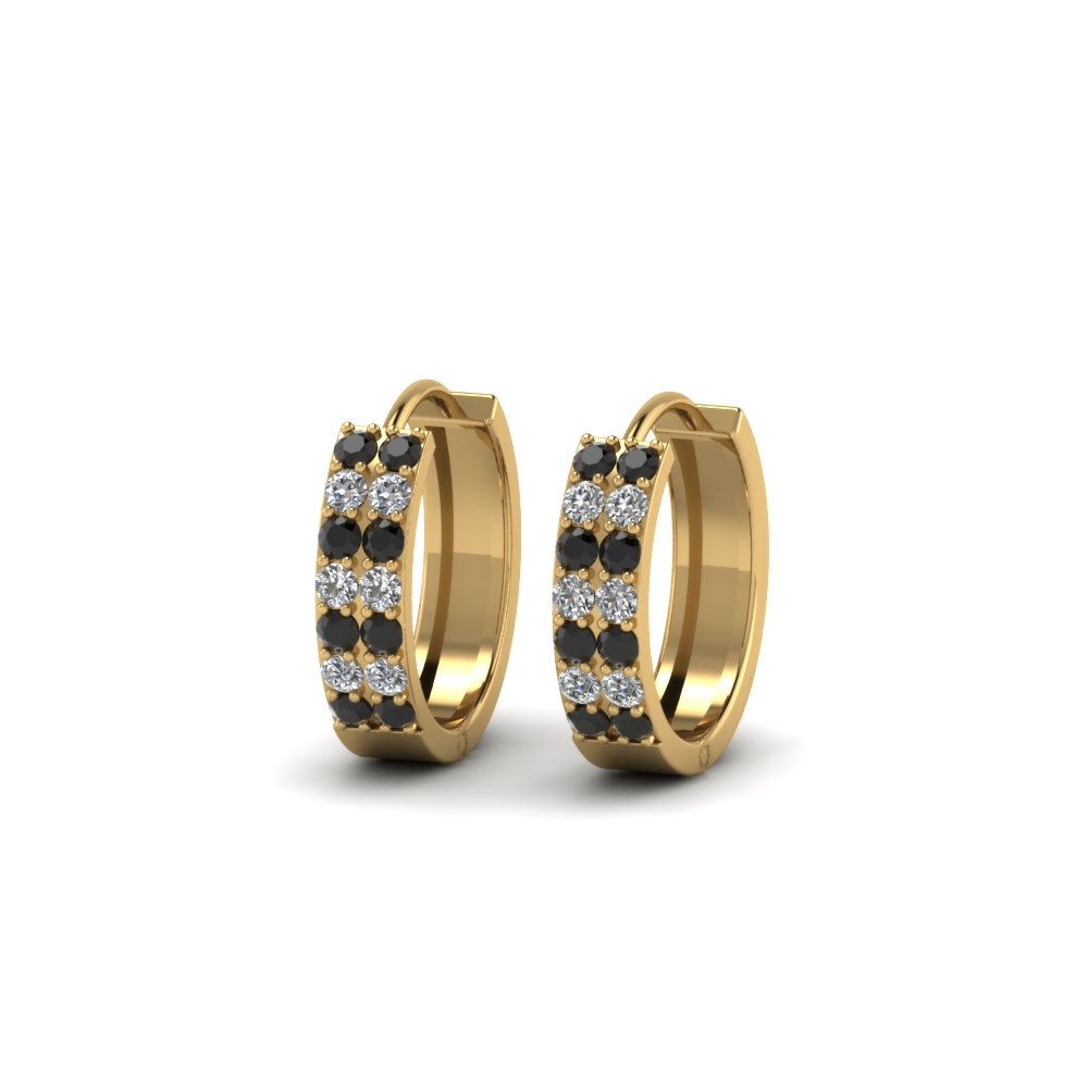 Black Diamond Small Hoop Earrings