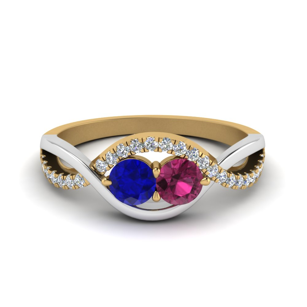 2 Sapphire Twisted Diamond Band Two Tone With Blue Sapphire In 14K Yellow Gold