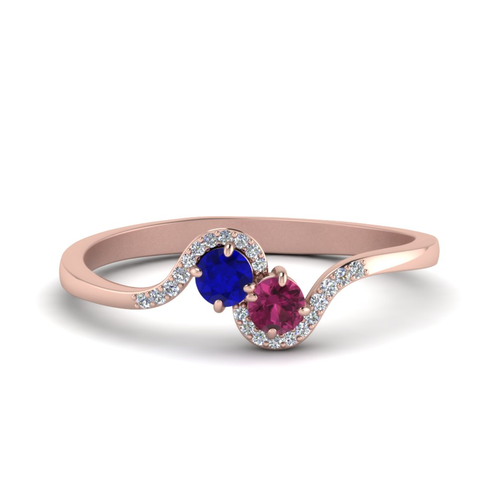 2 Sapphire With Diamond Twisted Ring In 14K Rose Gold