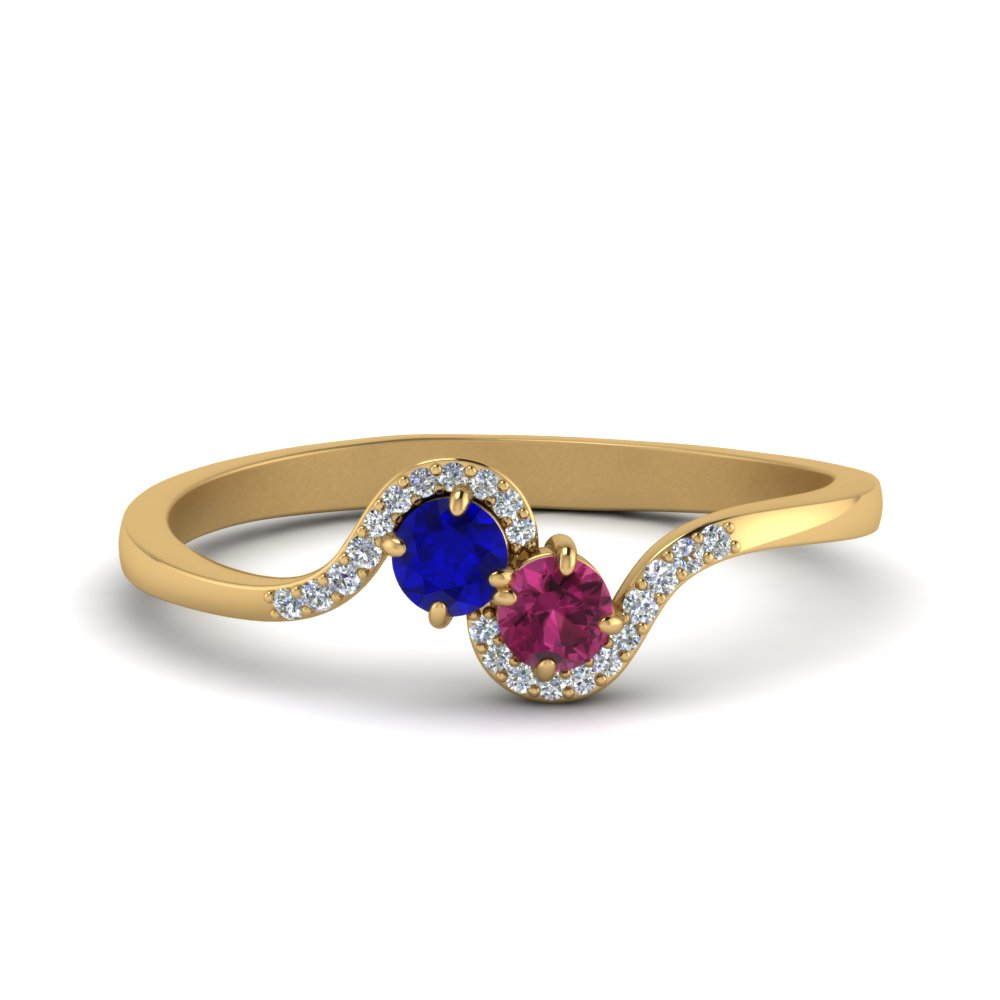 2 sapphire with diamond twisted ring in FDO84799RORGBSPS NL YG