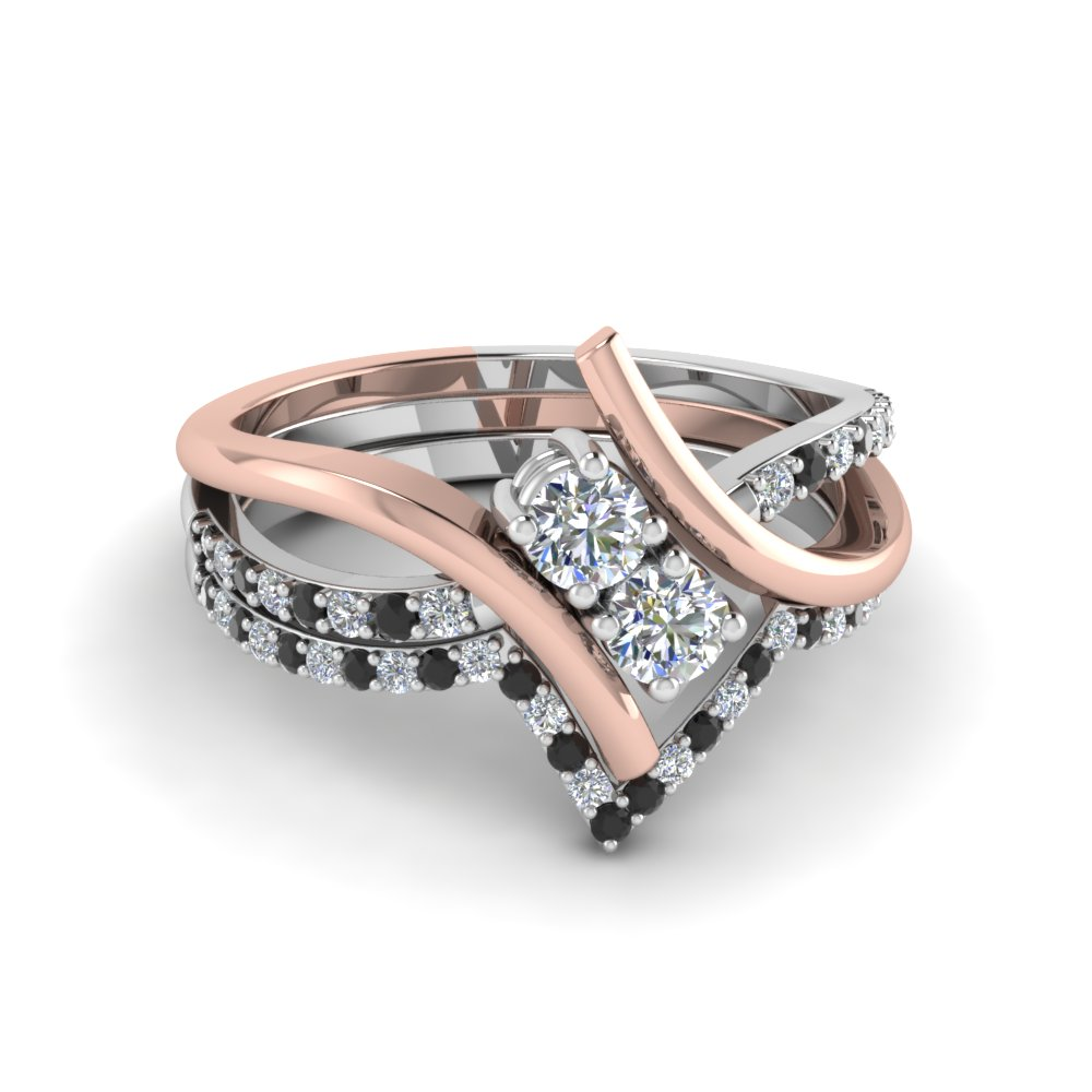 2 Stone Bridal Ring With Two Tone Thin