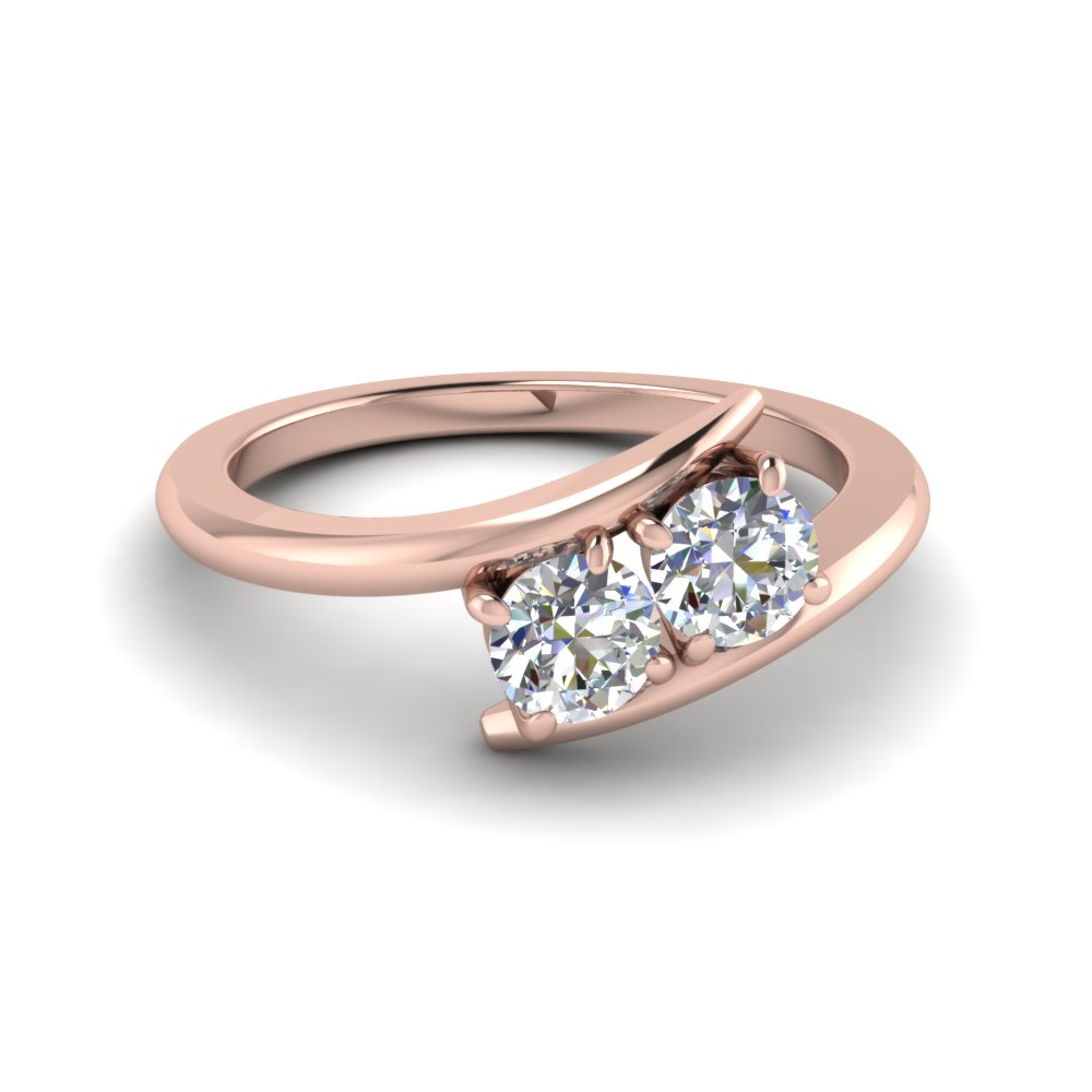 2 Stone Diamond Engagement Ring Pink Gold