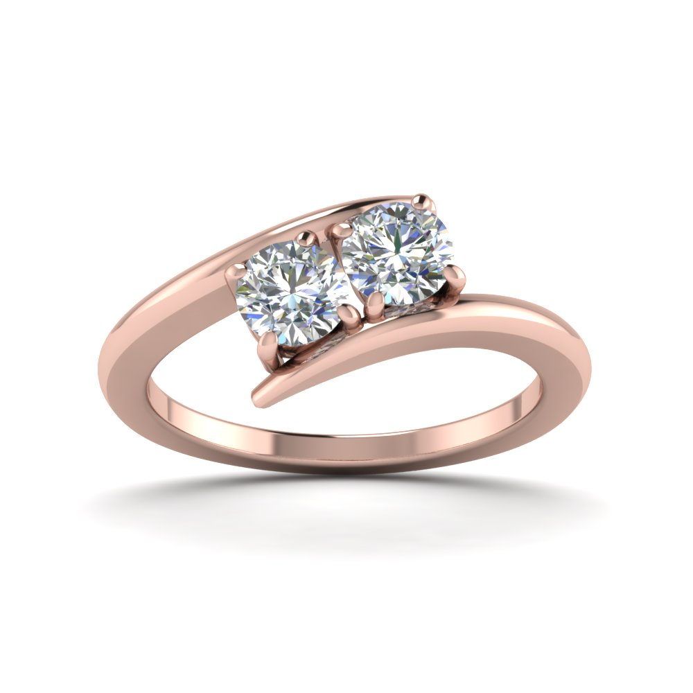 Two Stone Rings Designs | 2 Stone Crossover Ring In 14k Rose Gold Fascinating Diamonds