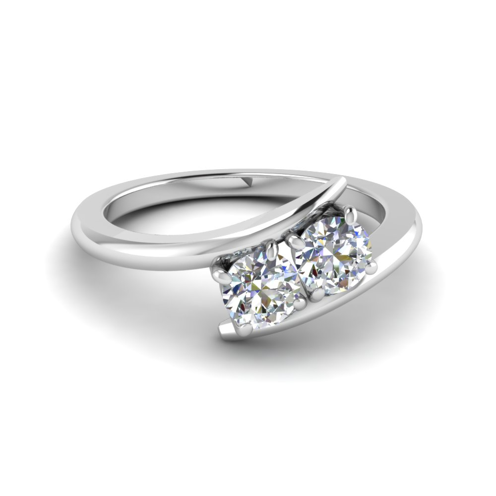 2 Stone Crossover Platinum Ring