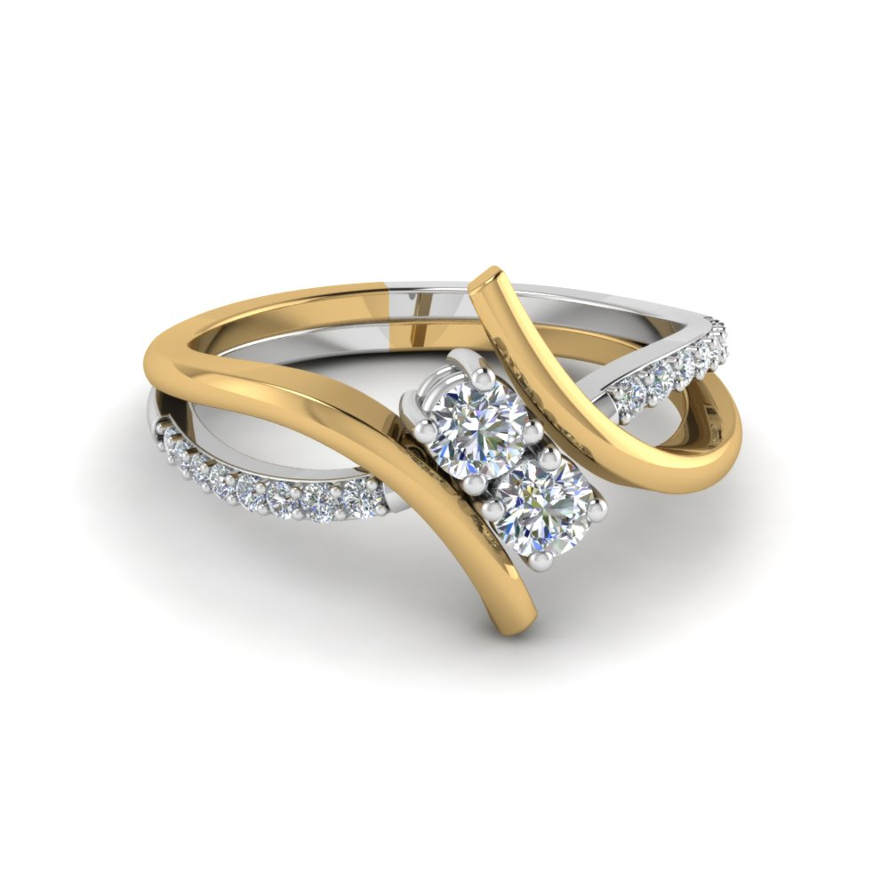 Twisted 2 Tone Gold Diamond Ring