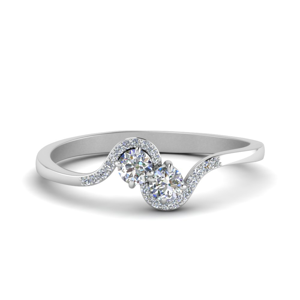 2 Stone Diamond Bypass Ring In 14K White Gold
