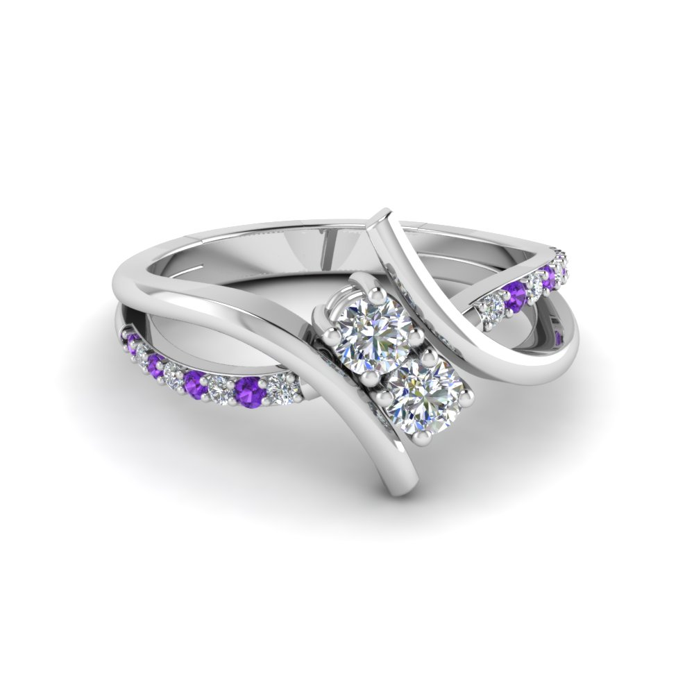 2 Stone Purple Topaz Ring