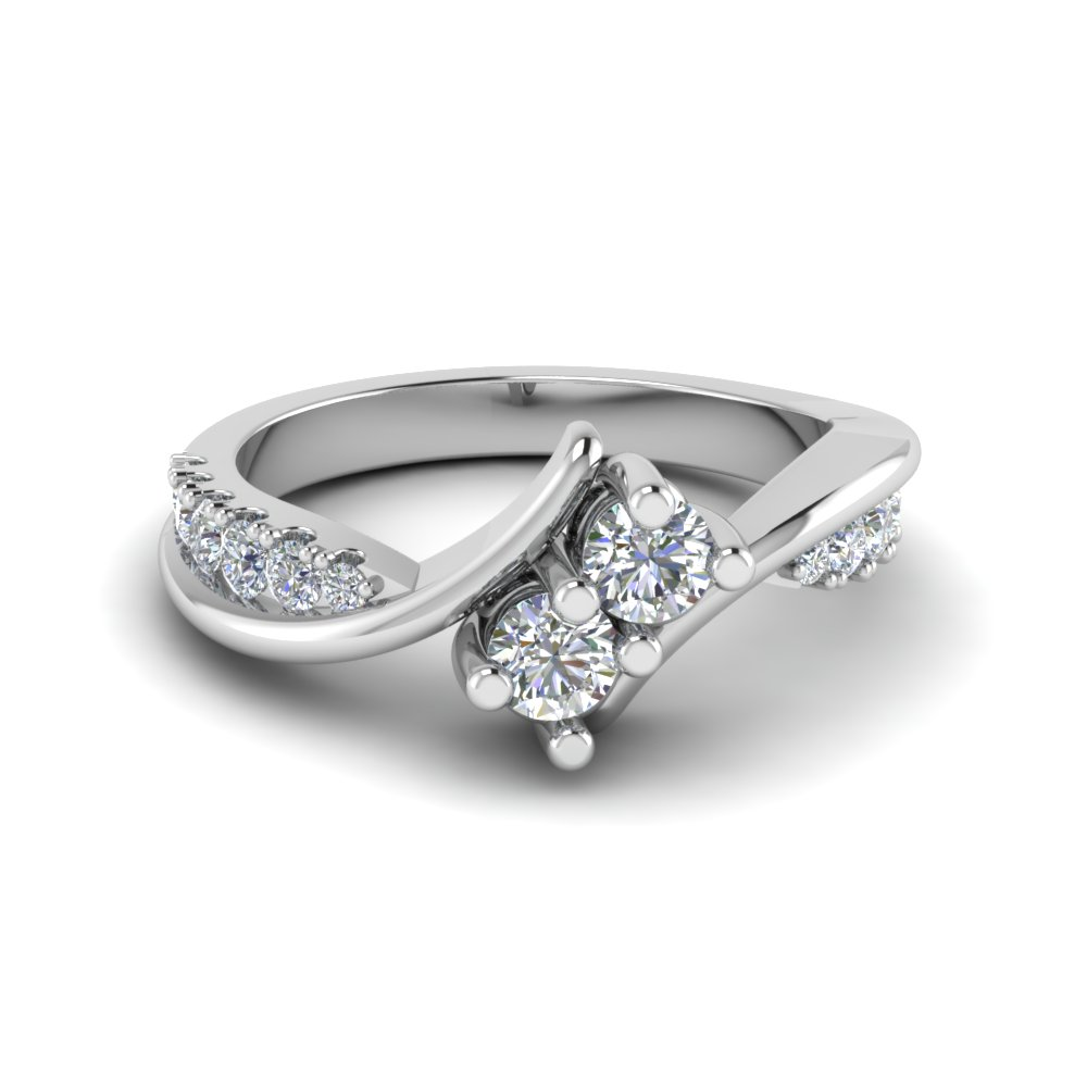 2 Stone Diamond Twisted Ring In 14K White Gold