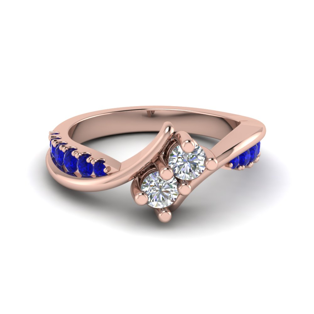 Two Stone Diamond Ring With Sapphire