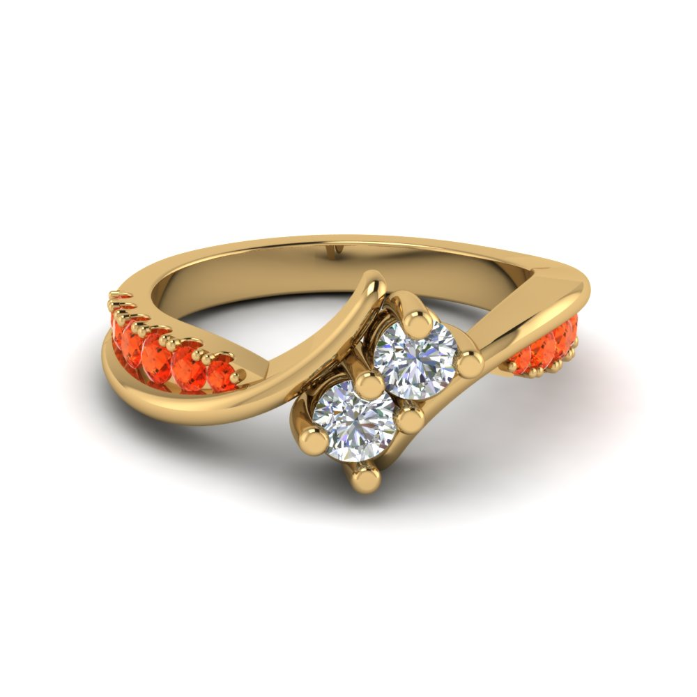 2 Stone Ring With Orange Topaz
