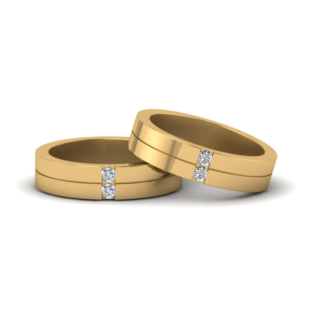 2 Stone Diamond Unisex Wedding Bands In 14K Yellow Gold