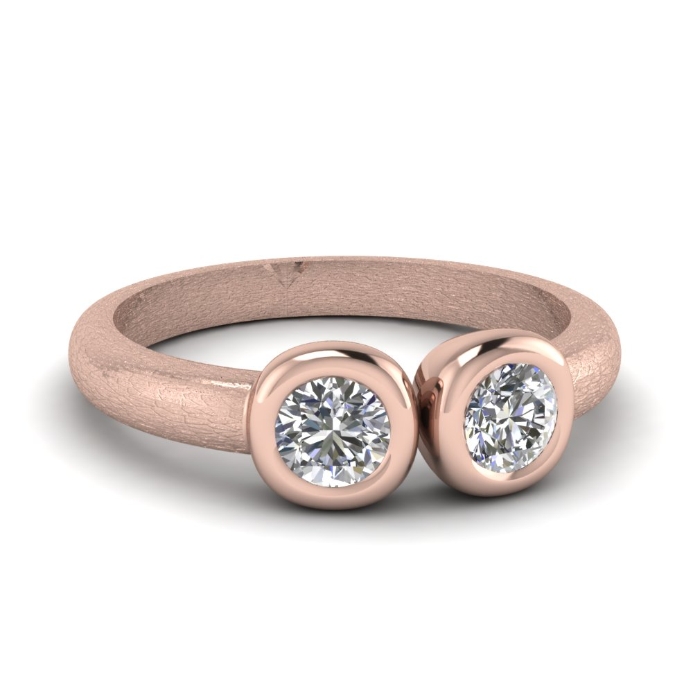 2 stone open bezel set diamond alternative engagement ring in 14K rose gold FD1062ROR NL RG