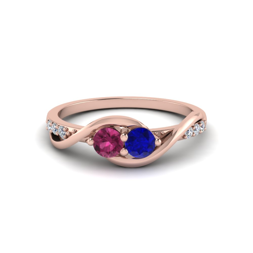 2 Stone Swirl Diamond Sapphire Engagement Ring in Rose Gold