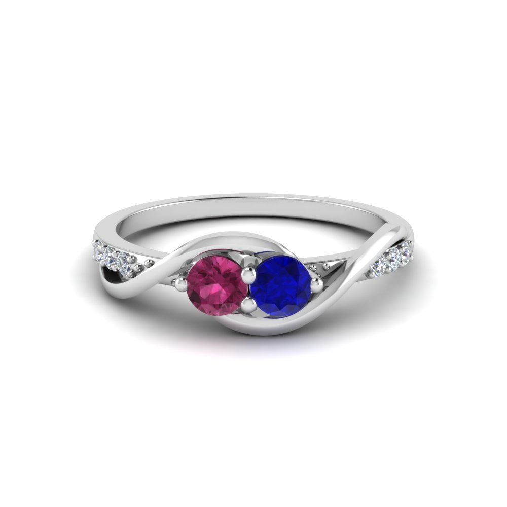 2 Stone Swirl Diamond Ring Colored Engagement Rings With Blue Sapphire In  14k White Gold