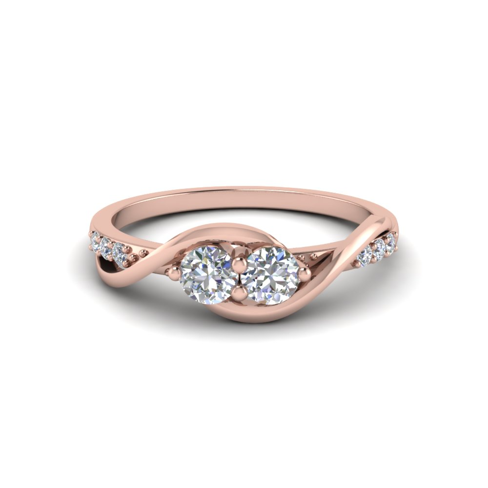 2 Stone Swirl Diamond Engagement Ring In 14K Rose Gold Fascinating
