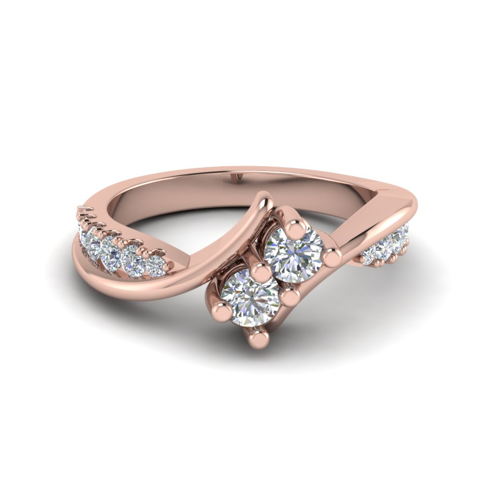 2 stone twist diamond alternate engagement ring in 14K rose gold FDFR5094ROR NL RG