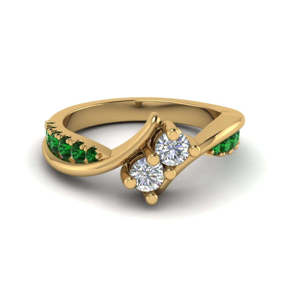2 Stone Twisted Emerald Engagement Ring