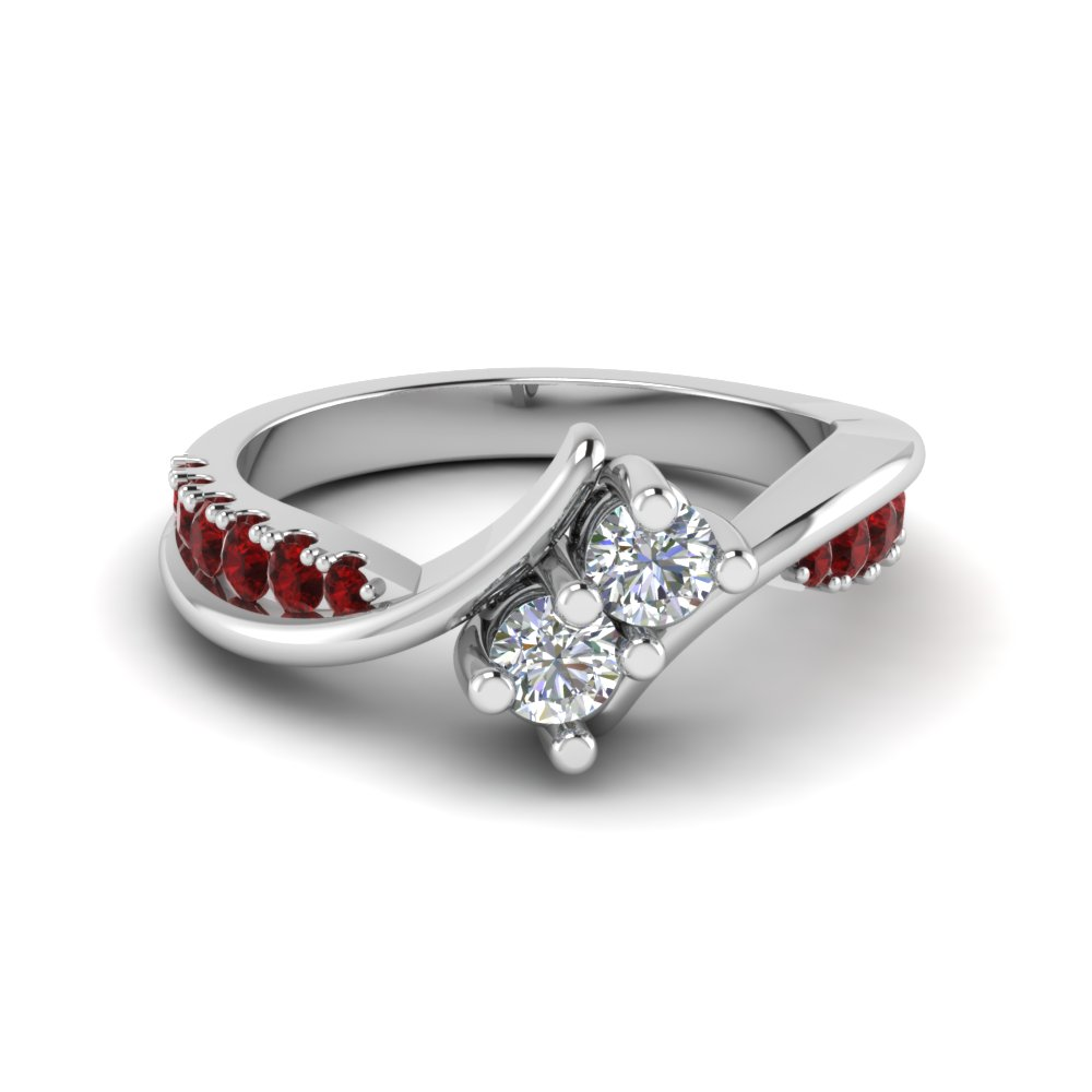 2 stone twist diamond alternate engagement ring with ruby in 18K white gold FDFR5094RORGRUDR NL WG
