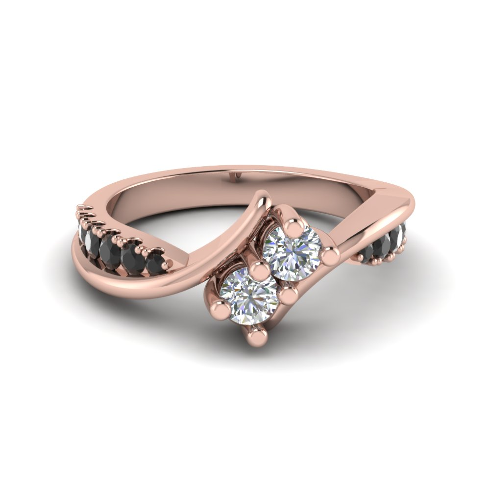 Pink Gold Black Diamond 2 Stone Ring For Her