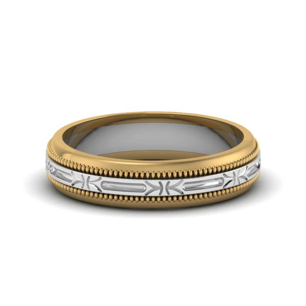 2 tone antique design wedding band in 14K yellow gold FD652898B NL YG