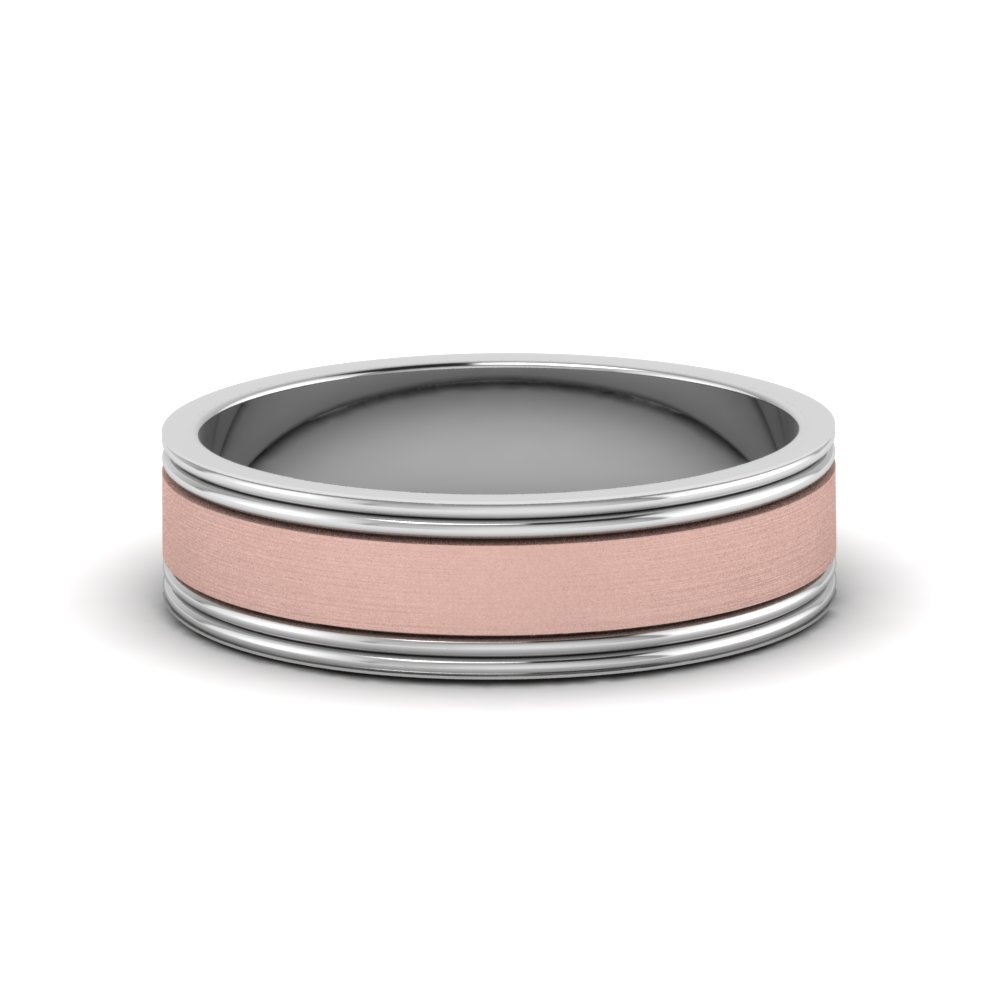 2 Tone Brushed Comfort Fit Mens Ring