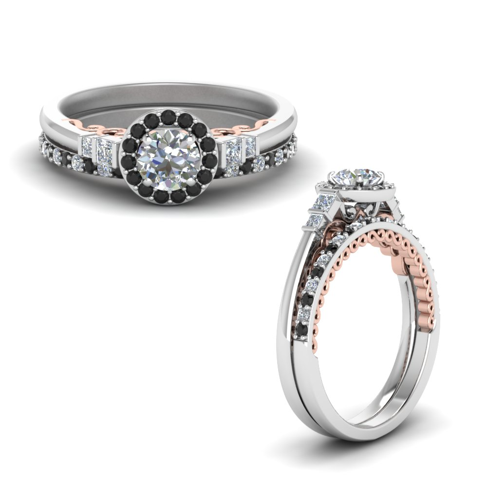 2 tone delicate black moissanite halo wedding ring set in FD9011ROGBLACKANGLE1 NL WG.jpg