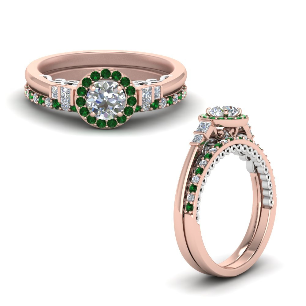 2 tone delicate emerald halo diamond wedding ring set in FD9011ROGEMGRANGLE1 NL RG.jpg