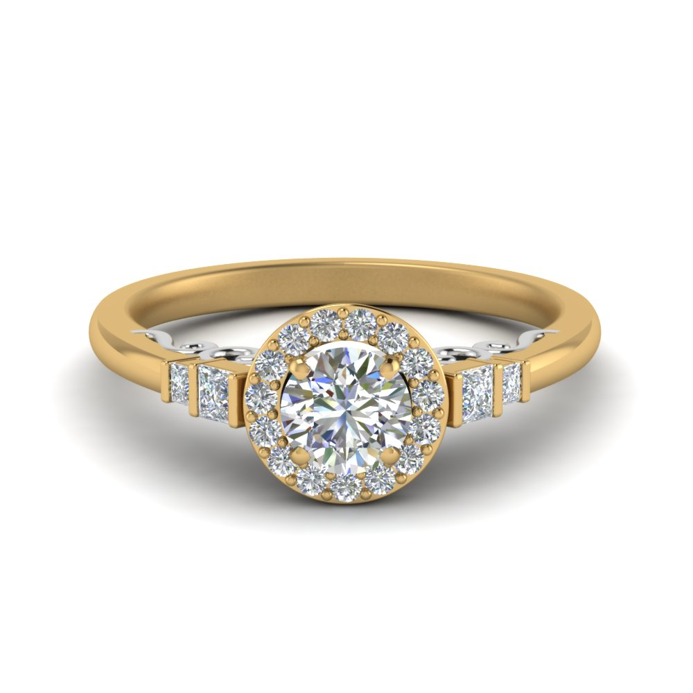 2 Tone Baguette Halo Ring