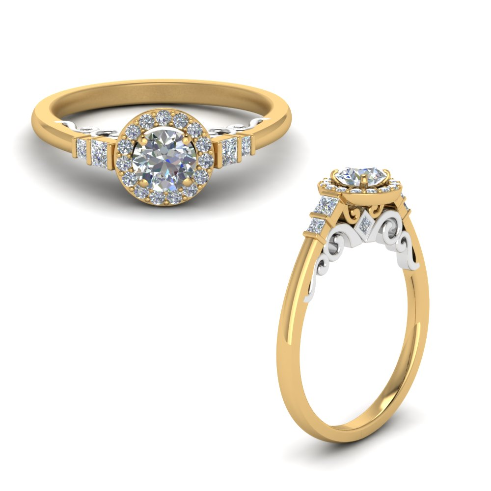 2 tone delicate halo diamond engagement ring in FD9011RORANGLE1 NL YG.jpg
