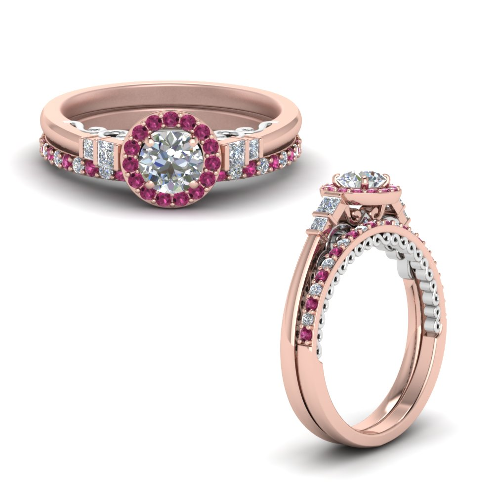 2 tone delicate pink sapphire halo moissanite wedding ring set in FD9011ROGSADRPIANGLE1 NL RG.jpg