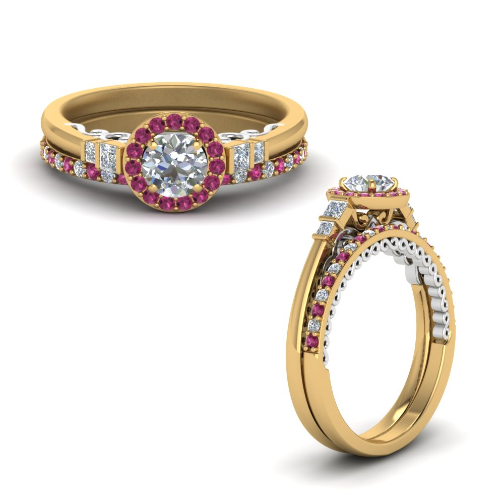 2 tone delicate pink sapphire halo diamond wedding ring set in FD9011ROGSADRPIANGLE1 NL YG.jpg