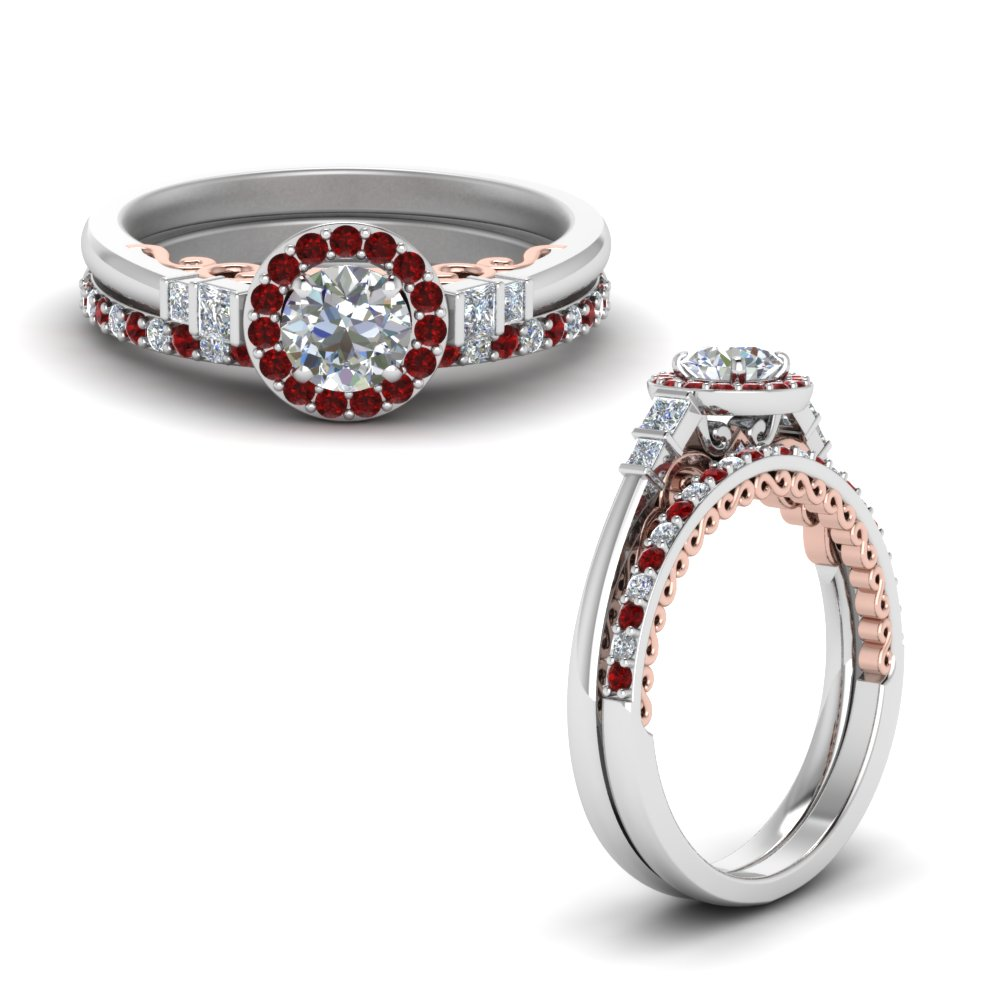 2 tone delicate ruby halo diamond wedding ring set in FD9011ROGRUDRANGLE1 NL WG.jpg