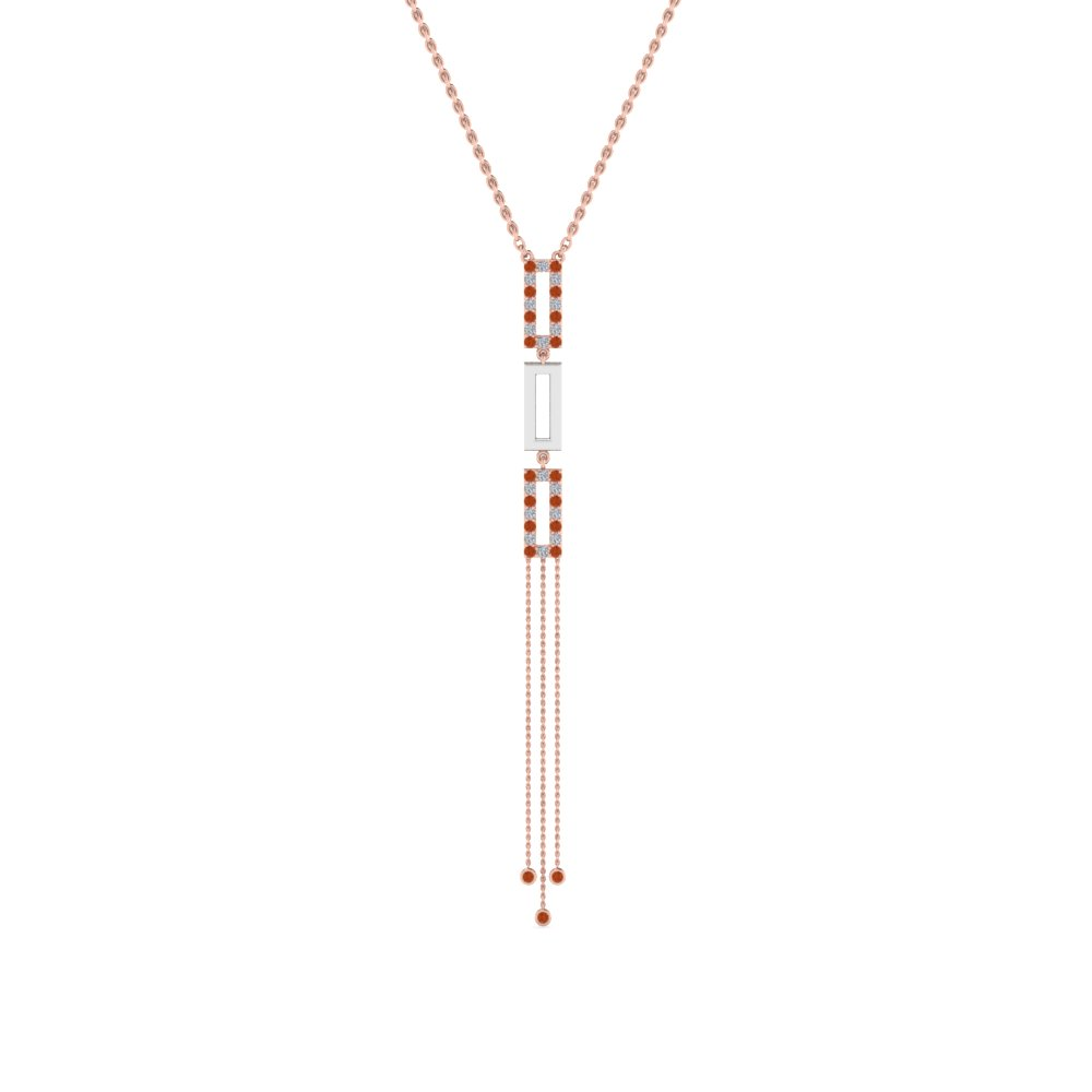 2 tone diamond drop necklace with orange sapphire in FDPD8452GSAORANGLE2 NL RG